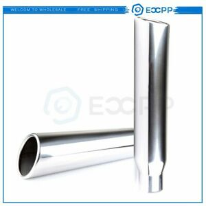 A Pair 2 5 Inlet 3 5 Outlet 18 Long Stainless Steel Rolled Edge Exhaust Tip