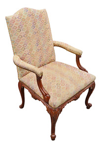 Antique French Oversized Louis Xv Carved Mahogany Upholstered Armchair Fauteuil