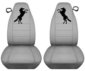 Fits 94 04 Ford Mustang Front Set Cotton Car Seat Covers Silver W Black Horse