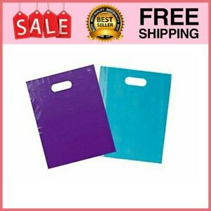 100 Merchandise Bags 12 x15 Purple Teal Retail Plastic Events Shopping Large