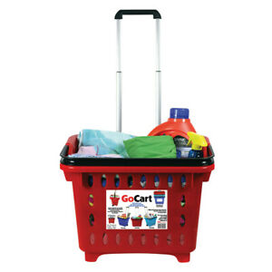 Gocart Rolling Shopping Basket Laundry Shopping Cart With Collapsible Handle