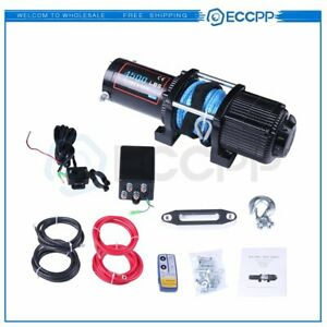 Eccpp 12v 4500lbs Electric Winch Towing Truck Synthetic Rope Off Road Atv Utv