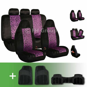 2 tone Leopard Velour Seat Covers With Floor Mats