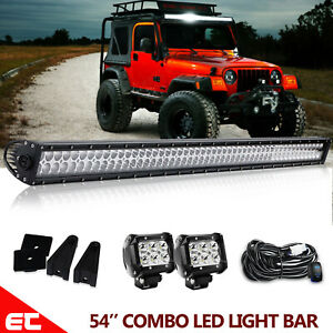 For Jeep Grand Cherokee Wk 54 Led Light Bar 2pcs 4 Pods Roof Mount Wiring Kit