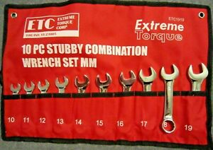 Stubby Short Metric Combination Crv Wrench Set 10 19mm Extreme Torque Etc1919