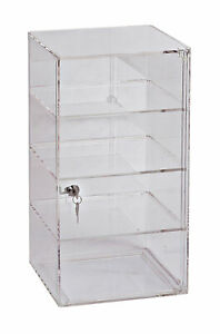 3 shelf Acrylic Tower Display Case removable Shelves lock
