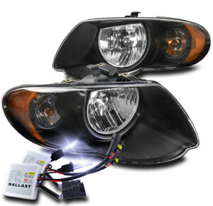 For 2005 2006 2007 Chrysler Town Country Black Headlights Headlamp 10000k Hid