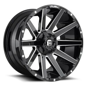 Set Of Four Fuel Wheels D615 Contra 20x9 8x165 1 1 Gloss Black Milled