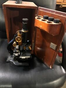 Vintage Antique Spencer Buffalo Co Scientific Brass Microscope W Wooden Box