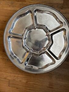Silver Plated Lazy Susan Serving Tray 18 5