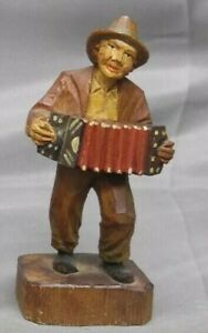 Viintage Hand Carved Wooden Figure Musician Hobo Accordion Player Wood Carving