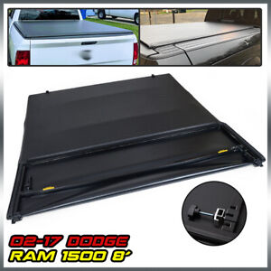 8ft Long Bed Four fold Soft Tonneau Cover For 2002 2018 Dodge Ram 1500 2500 3500