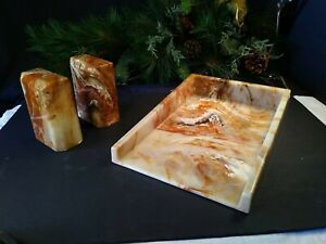 Vintage Marbleized Bookends And Matching Paper Tray Cultured free Shipping
