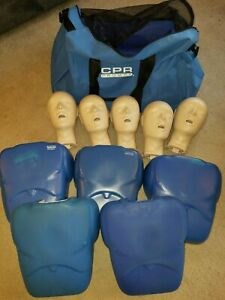 Cpr Prompt Lot Of 5 Adult Cpr Manikins Heads Torsos W Large Carrying Bag