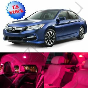 8x Pink Bulbs Led Car Light Interior Package Kit For Honda Accord 2013 2016 Lamp