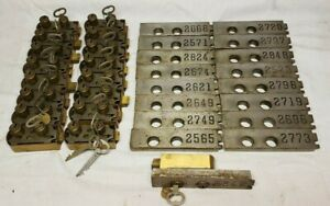 Lot Of 17 Bank Vault Safe Deposit Locks Face Plates Vintage Antique