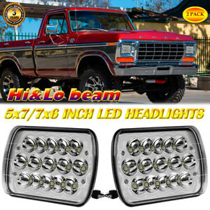 Pair 5x7 Led Headlights Hi Lo Beam For Ford F150 1976 1986 F250 F350 Mustang
