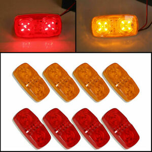 8x Trailer Marker Led Light Double Bullseye 10 Diodes Clearance Light Red Amber