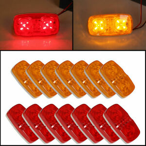14x Trailer Marker Led Light Double Bullseye 10 Diodes Clearance Light Red Amber