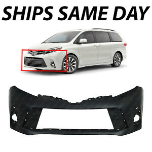 New Primered Front Bumper Cover Fascia For 2018 2019 2020 Toyota Sienna W Park