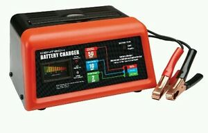 New 10 2 50 Amp 12 Volt Battery Charger Engine Starter Car Lawn Mower Cycle