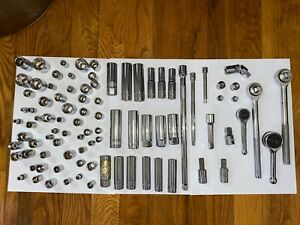 Huge Lot 91 Piece Socket Ratchet Set Metric And Sae Excellent Condition