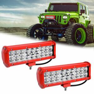 2x 9 inch 108w Cree Led Work Light Bar Flood Spot Combo Dual Row Driving Offroad