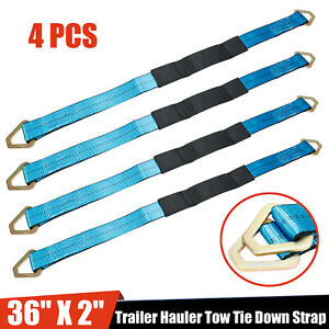 4 Hd 36 Axle Straps Race Car Hauler Trailer Tow Truck Wheel Tie Down Strap Blue