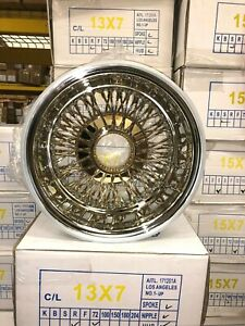 Set Of 4 New 14x7 72 Spoke Cross Lace Center Gold Wire Wheels Lowrider