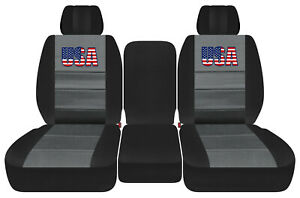 Front Truck Car Seat Covers Black Charcoal W Usa Flag Fits Dodge Ram11 18 1500