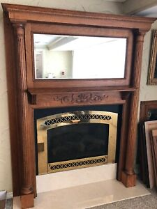 Victorian Antique Oak Fireplace Mantle With Pillars Surround With Beveled Mirror