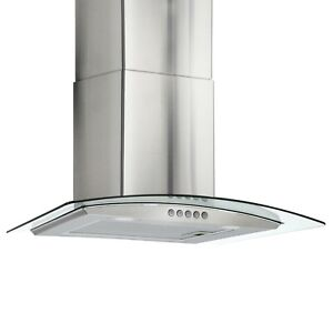 Curved Glass Range Hood Ducted Exhaust Vent Led Lighting 24 Stainless Steel