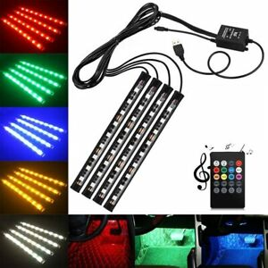 4pcs Car Usb 36 Led Rgb Lights Strip Interior Atmosphere Neon Lamp Ir Remote