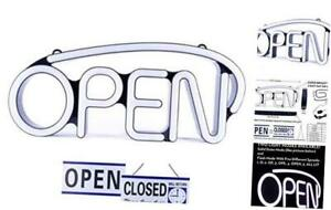 Led Neon Open Sign For Business Bright White Large For Business Displays
