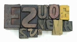 Letterpress Letter Wood Type Printers Block lot Of 12 Typography eb 191