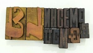 Letterpress Letter Wood Type Printers Block lot Of 13 Typography eb 174