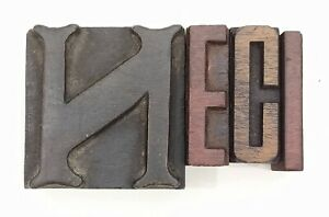 Letterpress Letter Wood Type Printers Block lot Of 4 Typography eb 189