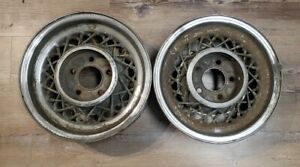 Two 1953 1954 1955 Cadillac Eldorado Kelsey hayes Spoke Wire Wheels Oem 15