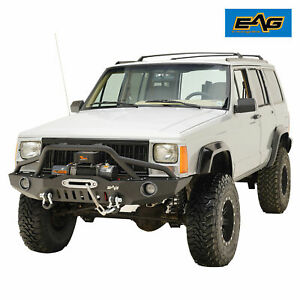 Eag Fits 84 01 Jeep Cherokee Xj Front Bumper W Led Lights Winch Plate