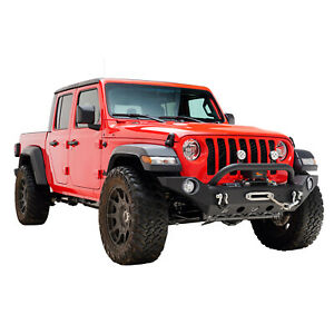 Full Width Front Bumper Black With Winch Plate Fit For 18 20 Jeep Wrangler Jl