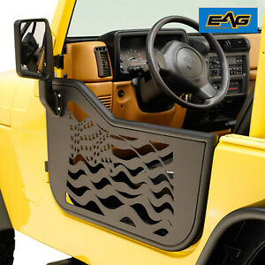 Eag Us Flag Steel Tube Door With Side Mirror Pair Fit For 97 06 Jeep Tj Wrangler