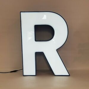 Letter R Retro Marquee Channel Letter R Vintage Sign Blue Base With Led Lights