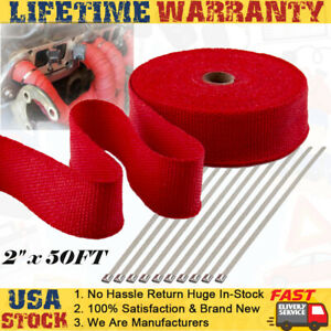 2 X 50ft Red Exhaust Thermal Wrap Manifold Header Isolation Heat Tape 15m 1000