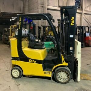 2014 Yale 8000lbs Used Forklift Lp Gas Triple Mast Sideshift 3148 Hours