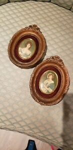 Vintage Victorian Cameos Portraits Ornate Frame Wall Hanging Pair