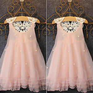 Kids Toddler Girls Lace Pearl Party Princess Wedding Birthday Tulle Tutu Dress $12.25