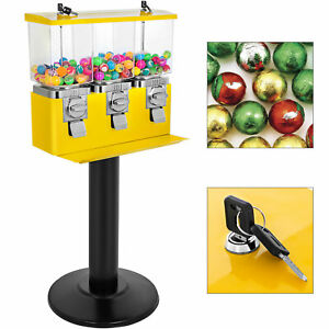 Yellow Triple Bulk Candy Vending Machine Pc metal Dispensing Nuts W Keys