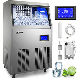 155lbs Commercial Ice Maker Ice Cube Making Machine 70kg Automatic 28lbs Storage