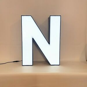 Letter N Retro Marquee Channel Letter N Vintage Sign Blue Base With Led Lights