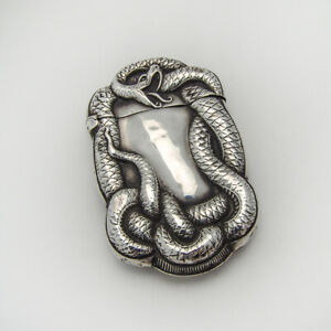 Repousse Coiled Snake Match Safe Sterling Silver 1900